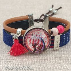 M Mandala Cat Survicor Adjustable Bracelet