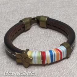 Multicolor Thick Leather Bracelet w/ Flower