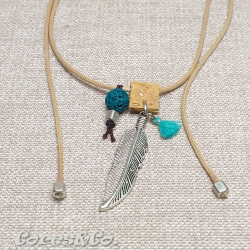 Long Adjustable Simple Necklace w/ Leaf