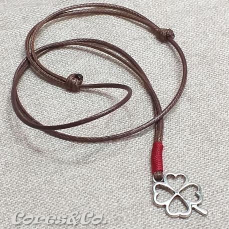 Lucky Clover Necklace w/ Dark Red Line