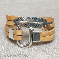2 Turns Leather Bracelet w/ Leaf