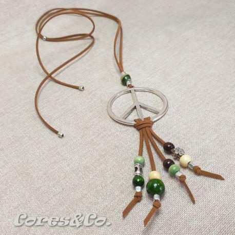 Peace Symbol Long Adjustable Necklace