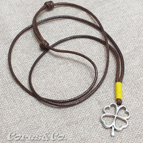 Lucky Clover Necklace w/ Yellow Line