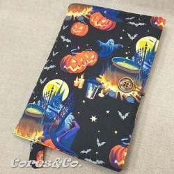 Capa de Livro Tecido Preto Halloween