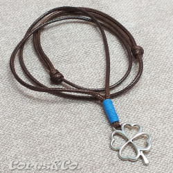 Lucky Clover Necklace w/ Orange Line