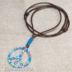 Peace Sign Blue Necklace