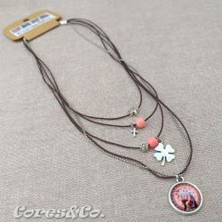 5 Layer Short Necklace Lucky Clover & Cat