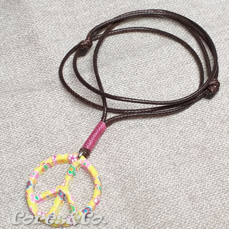 Peace Sign Yellow Necklace