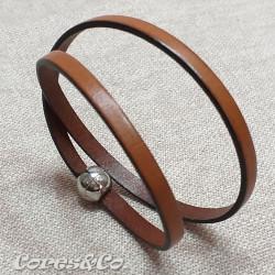 Camel Flat Leather Two Turn Bracelet