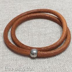Camel Round Leather Two Turn Bracelet