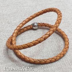 Camel Braided Leather Two Turn Bracelet