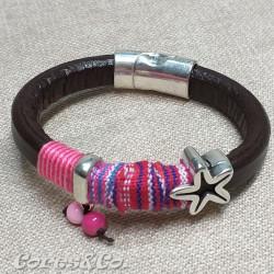 Pink Thick Leather Bracelet w/ Starfish