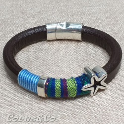 Blue Thick Leather Bracelet w/ Starfish