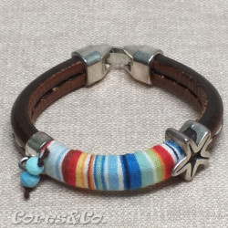 Multicolor Thick Leather Bracelet w/ Starfish