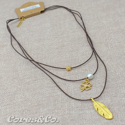 3 Layer Short Necklace Leaf and Lucky Clover