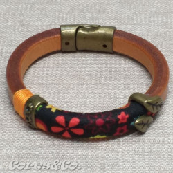 Thick Leather Bracelet w/ Fabric