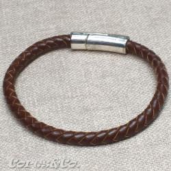 Brown Braided Leather Bracelet
