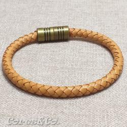 Camel Braided Leather Bracelet