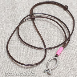 Fish Necklace w/ Pink Line